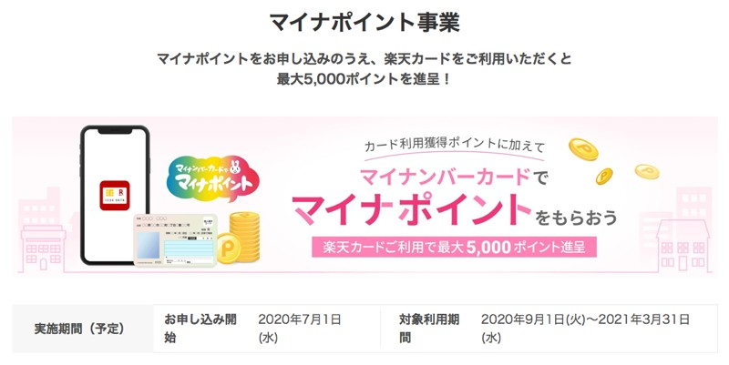 ひとり5000円分のマイナポイント、9月から開始!我が家は買い物でよく使う楽天カードでポイントをもらう予定です